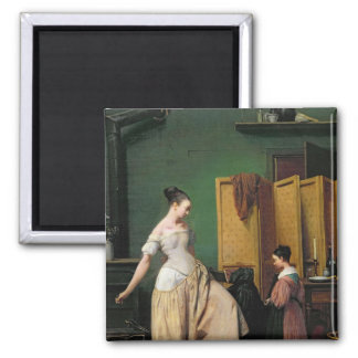 Woman at her Toilet, 1835 Square Magnet