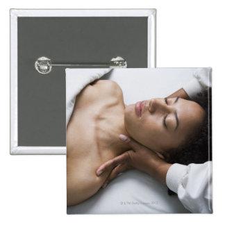 Woman at spa 15 cm square badge