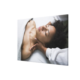 Woman at spa canvas print