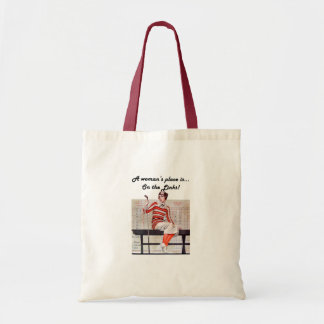 Woman at the links budget tote bag
