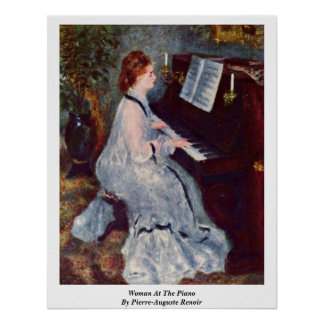Woman At The Piano By Pierre-Auguste Renoir Poster