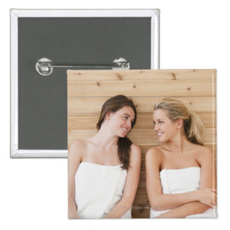 Woman at the spa 15 cm square badge