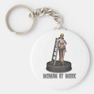 woman at work basic round button key ring