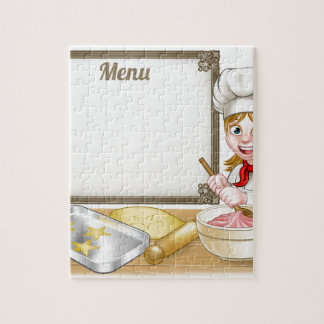 Woman Baker or Pastry Chef Menu Sign Jigsaw Puzzle