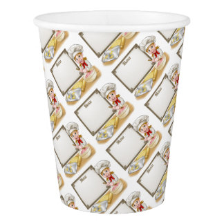 Woman Baker or Pastry Chef Menu Sign Paper Cup