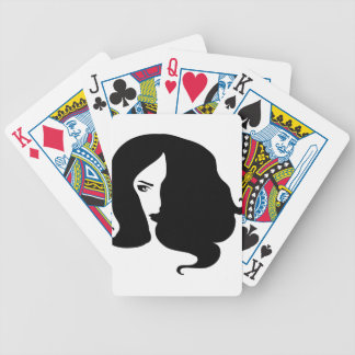 woman bicycle playing cards
