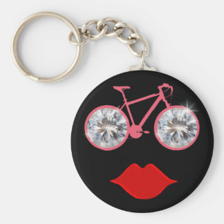 woman bike mouth diamond key ring