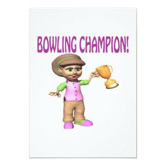 Woman Bowling Champion 13 Cm X 18 Cm Invitation Card