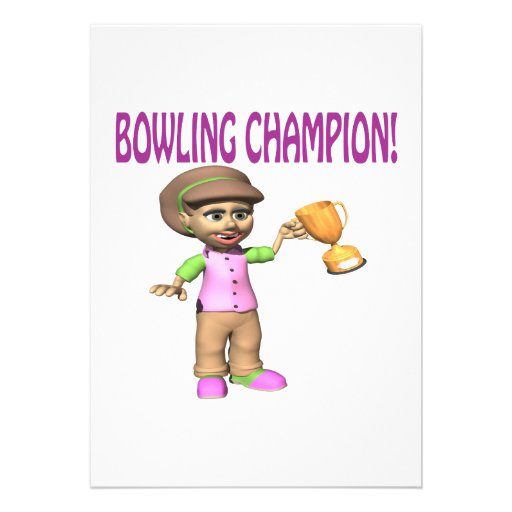 Woman Bowling Champion Custom Announcements