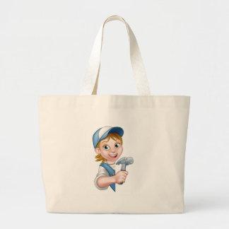 Woman Builder Carpenter Cartoon Large Tote Bag