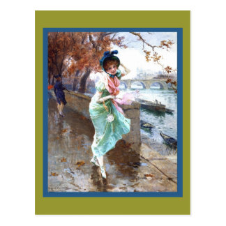 Woman by the Seine River Postcard
