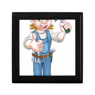 Woman Carpenter Holding Hammer Gift Box