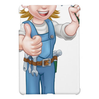 Woman Carpenter Holding Hammer iPad Mini Cover
