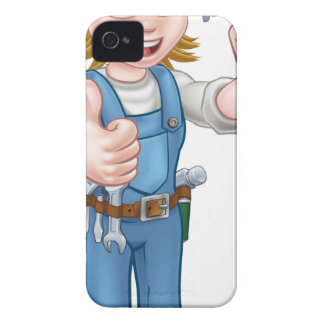 Woman Carpenter Holding Hammer iPhone 4 Case-Mate Case