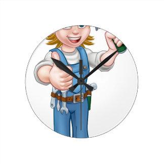 Woman Carpenter Holding Hammer Round Clock