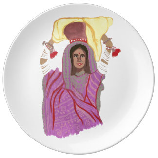 Woman carrying food plate