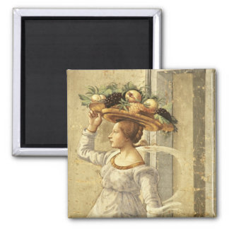 Woman carrying Fruit, from the Birth of St. John t Square Magnet