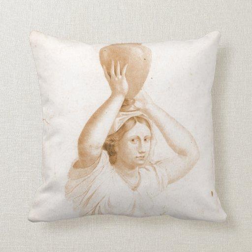 Woman Carrying Jug 1820 Pillow