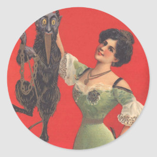 Woman Catching Krampus Classic Round Sticker