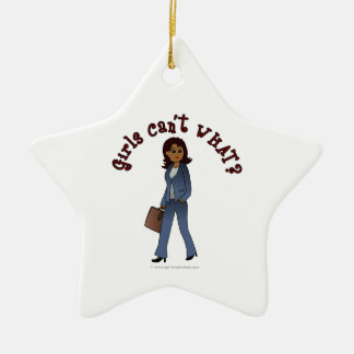 Woman CEO in Business Suit Ceramic Star Decoration