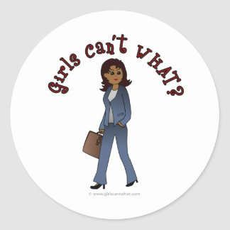 Woman CEO in Business Suit Round Sticker