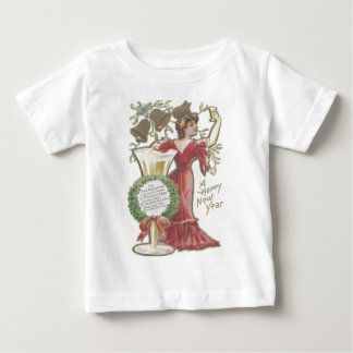 Woman Champagne Flute Bell Holly Wreath Mistletoe Baby T-Shirt