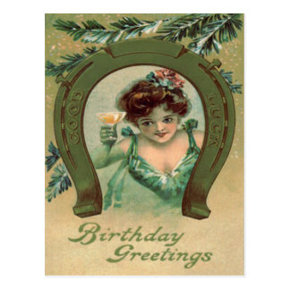 Woman Champagne Lucky Horseshoe Evergreen Postcard