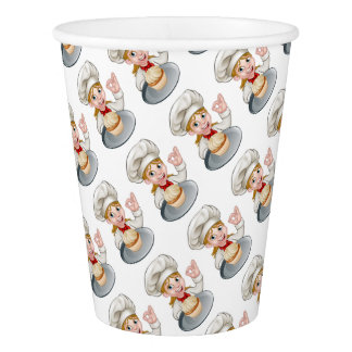 Woman Chef or Baker Cartoon Paper Cup