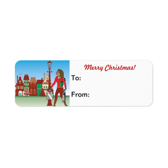 Woman Christmas shopping with bags dressed fashion Return Address Label