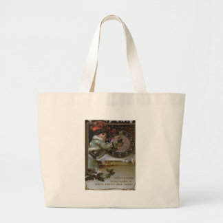 Woman Clock Midnight Holly Snow Jumbo Tote Bag
