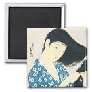 Woman Combing Her Hair Hashiguchi Goyo Square Magnet