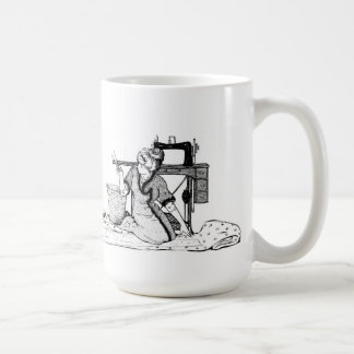 Woman cutting Fabric - I Love to Sew Mug