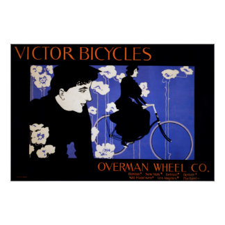 Woman Cycling Vintage Poster