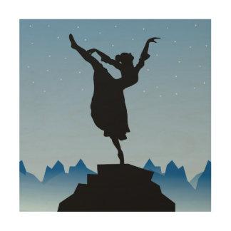 Woman dancer illustration wood canvas
