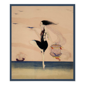 Woman Dancing on the Shore Poster