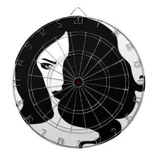 woman dartboard with darts