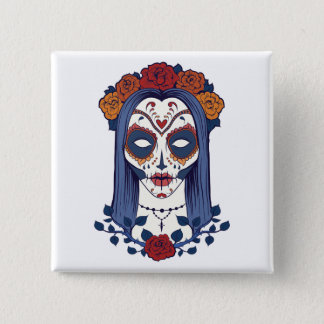 Woman Day of the Dead 15 Cm Square Badge