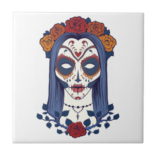Woman Day of the Dead Ceramic Tile