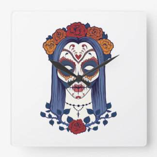 Woman Day of the Dead Clock