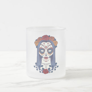 Woman Day of the Dead Frosted Glass Coffee Mug