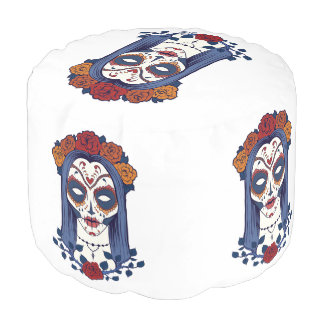 Woman Day of the Dead Pouf