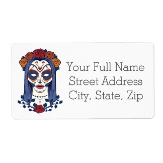 Woman Day of the Dead Shipping Label