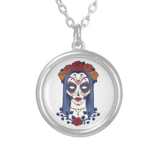 Woman Day of the Dead Silver Plated Necklace