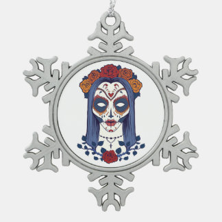 Woman Day of the Dead Snowflake Pewter Christmas Ornament