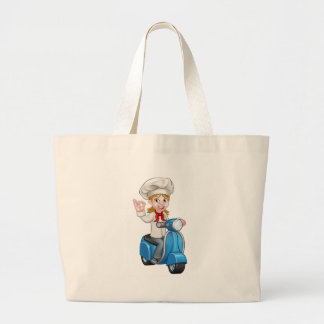 Woman Delivery Scooter Female Chef Large Tote Bag