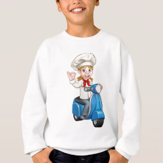Woman Delivery Scooter Female Chef Sweatshirt