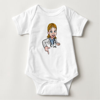 Woman Doctor Cartoon Character Pointing Baby Bodysuit