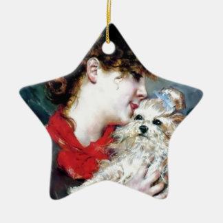 Woman Dog Pet Love Painting Christmas Tree Ornaments