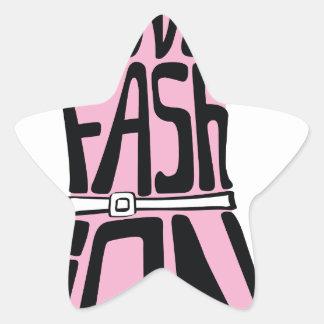 "Woman dress from words  ""I love fashion"" Star Sticker"