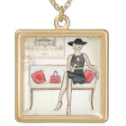 Woman Drinking Red Wine Gold Plated Necklace
